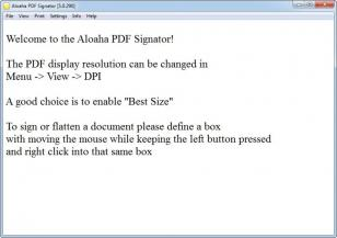 Aloaha PDF Signator main screen