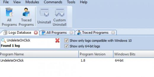 Find Undelete On Click in Logs Database List