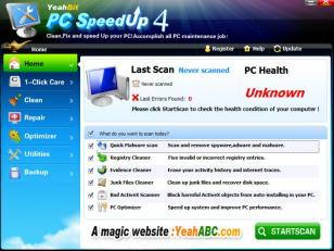 YeahBit PC SpeedUp main screen