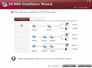 LG NAS Installation Wizard main screen