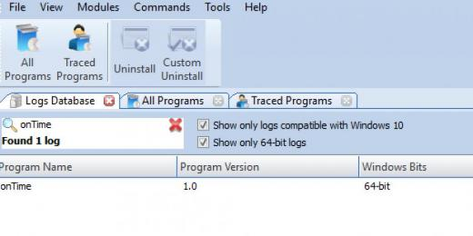 Find onTime in Logs Database List