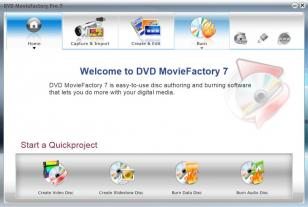 Corel DVD MovieFactory main screen