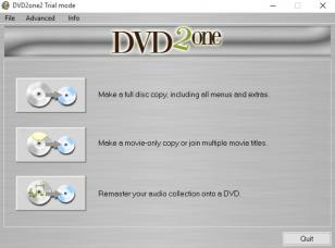 DVD2one main screen