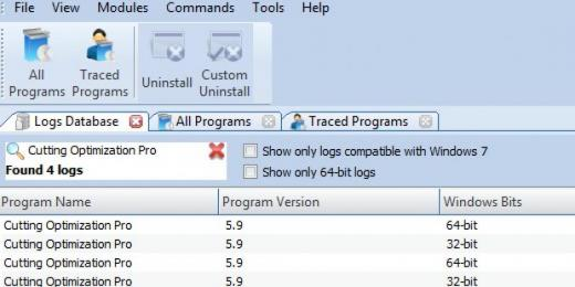 Find Cutting Optimization Pro in Logs Database List