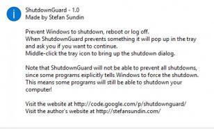 ShutdownGuard main screen