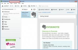 Evernote main screen