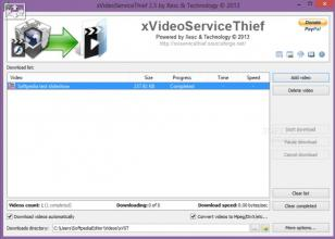 xVideoService Thief main screen