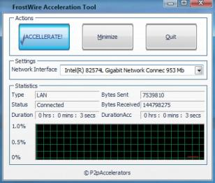 FrostWire Acceleration Tool main screen