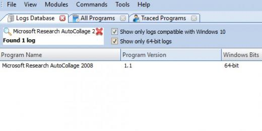 Find Microsoft Research AutoCollage 2008 in Logs Database List