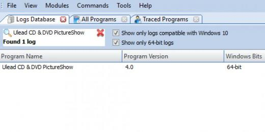 Find Ulead CD & DVD PictureShow in Logs Database List