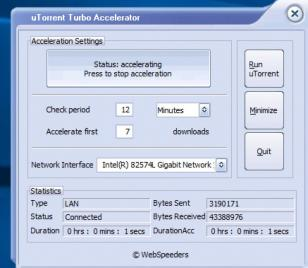 uTorrent Turbo Accelerator main screen