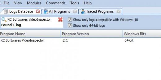 Find KC Softwares VideoInspector in Logs Database List