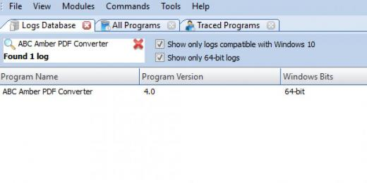 Find ABC Amber PDF Converter in Logs Database List