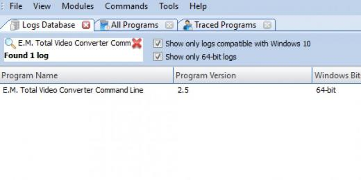 Find E.M. Total Video Converter Command Line in Logs Database List