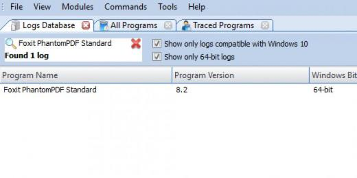 Find Foxit PhantomPDF Standard in Logs Database List