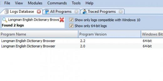 Find Longman English Dictionary Browser in Logs Database List