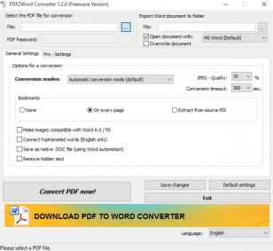 PDF2Word Converter main screen