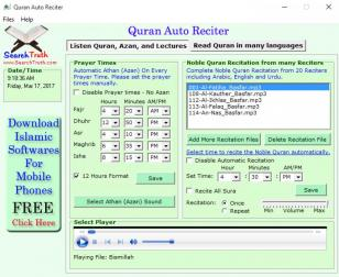 Quran Auto Reciter main screen