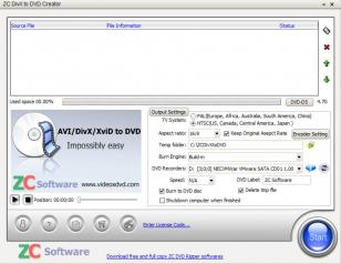 ZC DivX to DVD Creator main screen