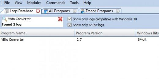 Find VBto Converter in Logs Database List