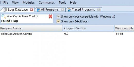 Find VideoCap ActiveX Control in Logs Database List