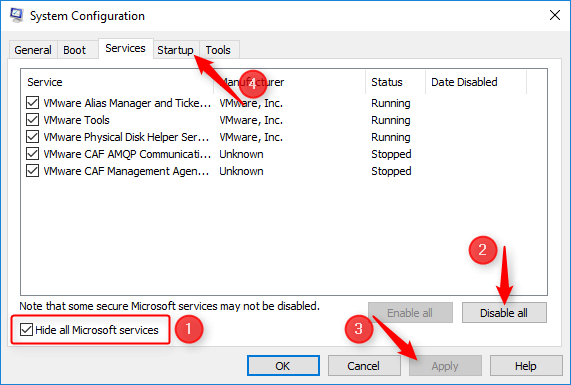 system configuration window