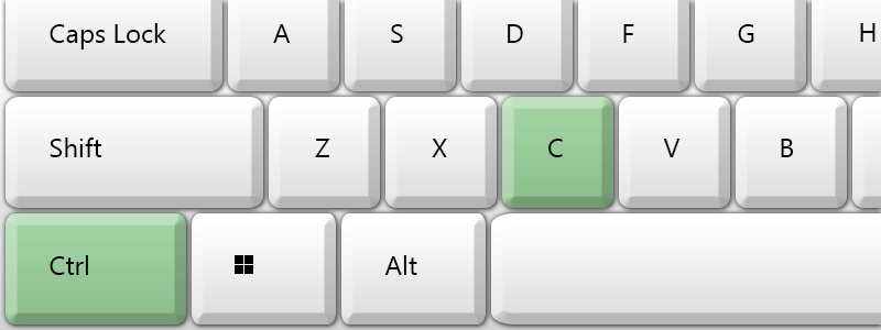 control and c highlighted