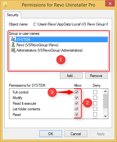 permission window for revo uninstaller pro