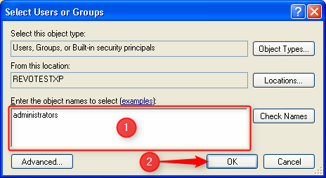 select user or groups window