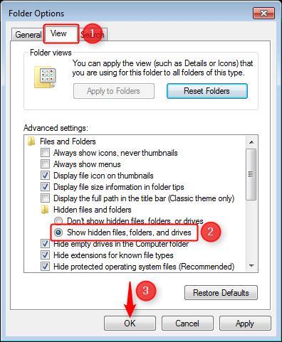 view folder options