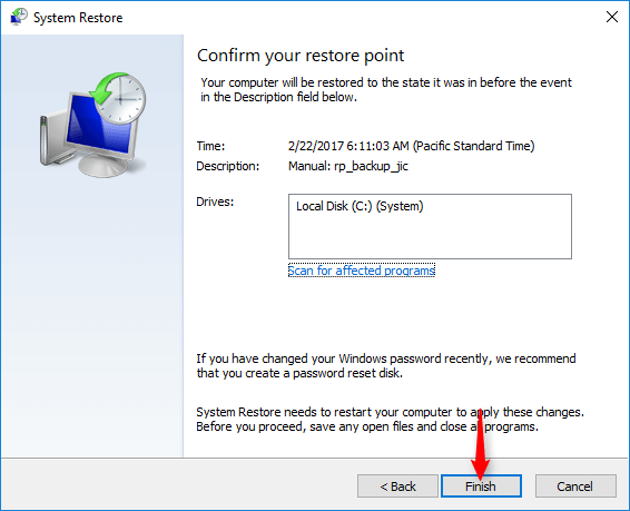 Confirm system restore screen