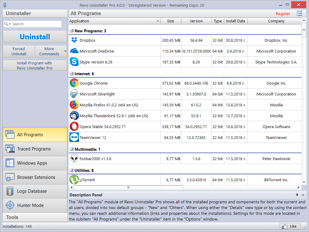 Screenshot of Revo Uninstaller Pro interface