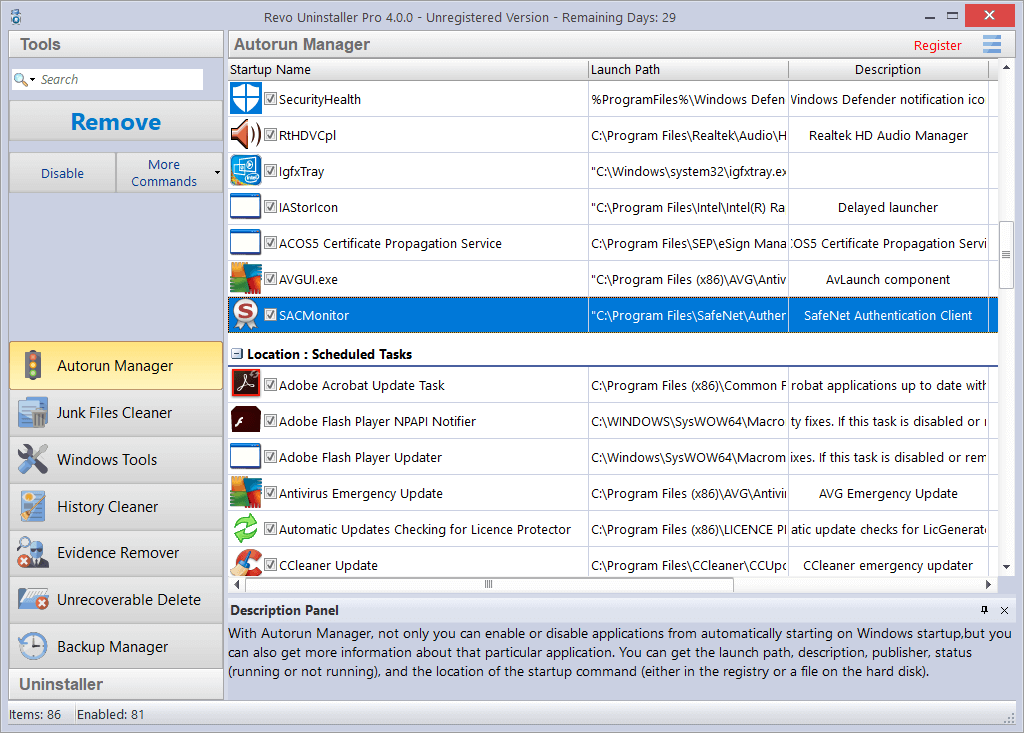 Screenshot of Autorun Manager