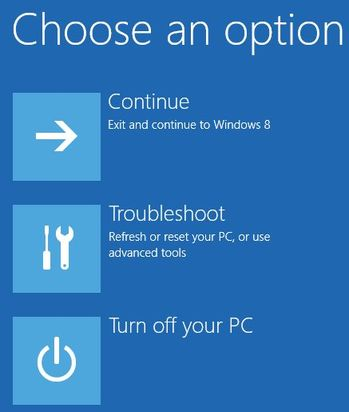 Screen of Choose an Option