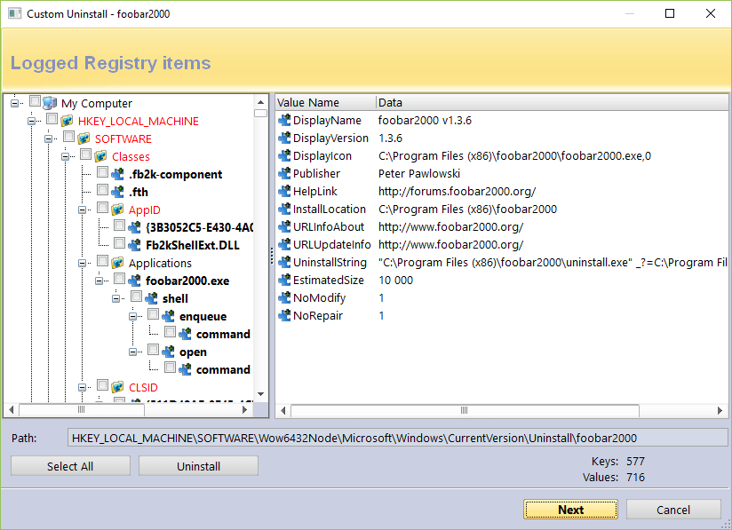 Screen of logged registry items