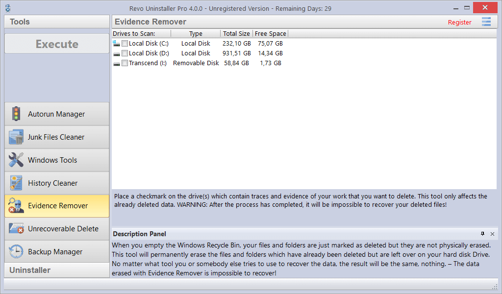 Screenshot of Evidence Remover