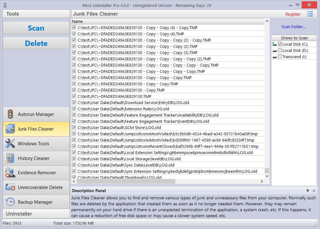 Screenshot of Junk Files Cleaner