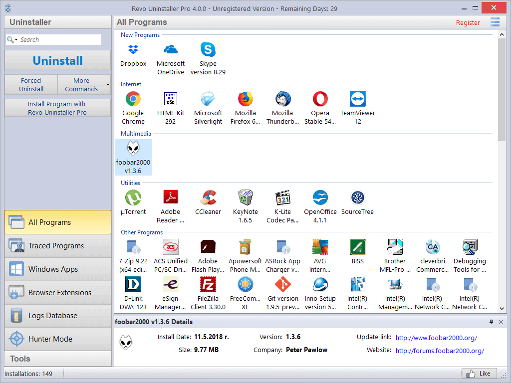 Screenshot of user interface of Revo Uninstaller Pro