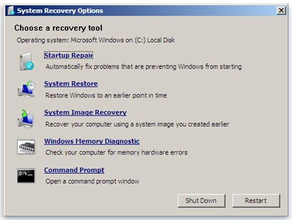 Windows of System Recovery Options
