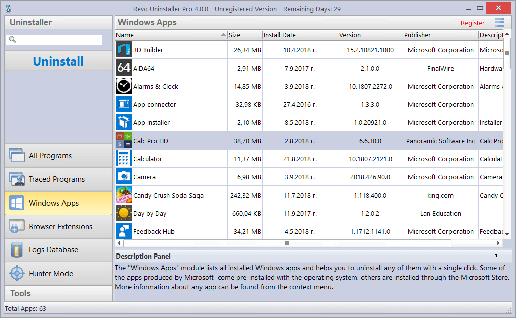 Screenshot of Windows Apps