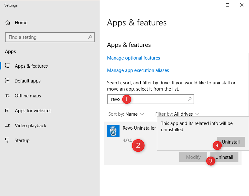 apps and features screen